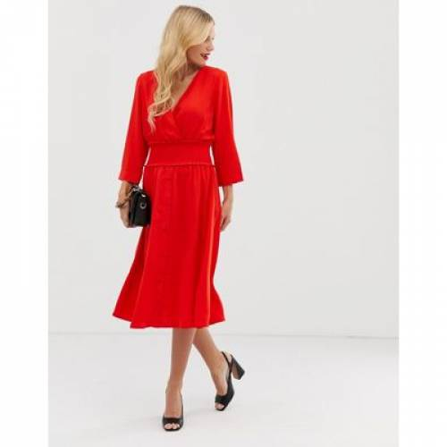 【海外限定】ドレス Y.A.S レディースファッション ワンピース 【 V NECK MIDI DRESS WITH ELASTICATED WAIST 】