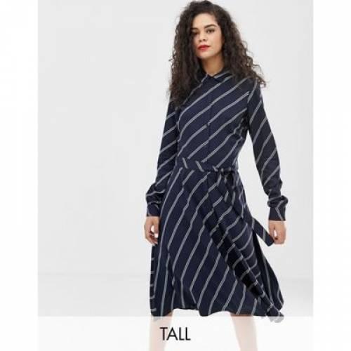 ストライプ ドレス レディースファッション ワンピース 【 STRIPE VERO MODA TALL DIAGONAL SHIRT DRESS 】