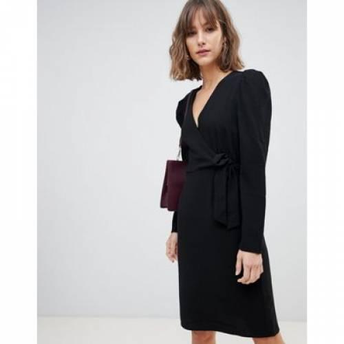 ラップ ドレス 黒 ブラック レディースファッション ワンピース 【 WRAP BLACK VERO MODA MINI DRESS IN 】