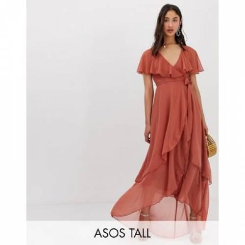 ドレス レディースファッション ワンピース 【 ASOS DESIGN TALL MAXI DRESS WITH CAPE BACK AND DIP HEM 】