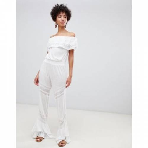 白 ホワイト レディースファッション オールインワン サロペット 【 WHITE RIVER ISLAND BARDOT BEACH JUMPSUIT WITH FRILL DETAIL IN 】