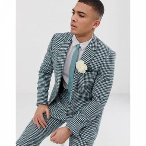 スリム 白 ホワイト メンズファッション コート ジャケット 【 SLIM WHITE ASOS DESIGN HARRIS TWEED SUIT JACKET IN TEAL AND HOUNDSTOOTH 】 ※セットアップではありません