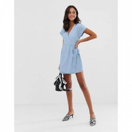 デニム ラップ ドレス 青 ブルー レディースファッション ワンピース 【 WRAP BLUE ASOS DESIGN DENIM DRESS IN LIGHTWASH 】