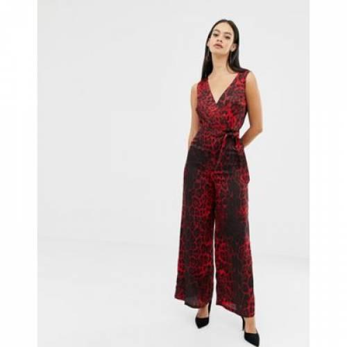 赤 レッド ベルト レディースファッション オールインワン サロペット 【 RED UNIQUE21 LEOPARD PRINT V NECK JUMPSUIT WITH TIE BELT 】