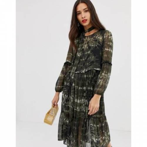 ドレス GRAY灰色 グレイ レディースファッション ワンピース 【 GREY STRADIVARIUS TIE DYE MIDI DRESS IN 】