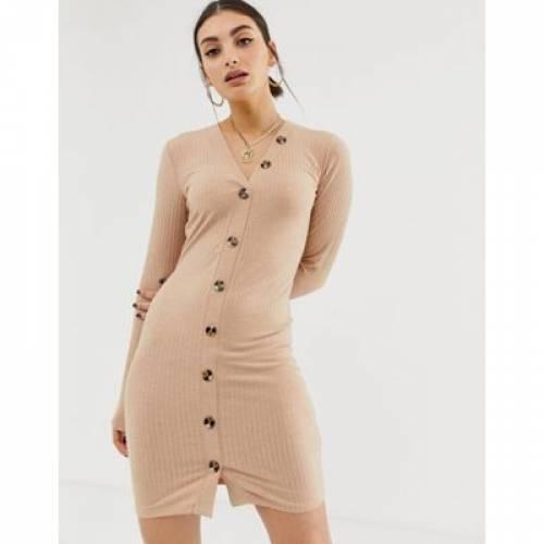 ドレス レディースファッション ワンピース 【 NAKD RIBBED DRESS WITH BUTTON DETAIL IN BEIGE 】