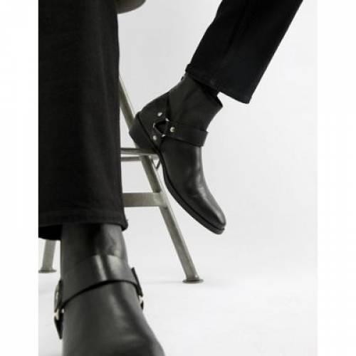 【海外限定】キューバン 黒 ブラック レザー バックル メンズ ブーツ 【 BLACK ASOS DESIGN CUBAN HEEL WESTERN CHELSEA BOOTS IN LEATHER WITH BUCKLE DETAIL 】