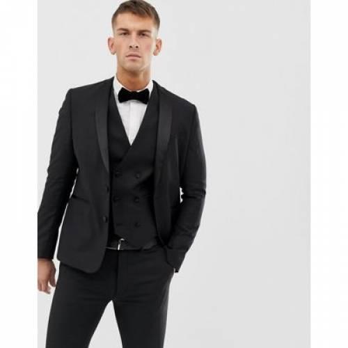 スリム 黒 ブラック 100% メンズファッション コート ジャケット 【 SLIM BLACK ASOS DESIGN TUXEDO SUIT JACKET IN WOOL 】 ※セットアップではありません
