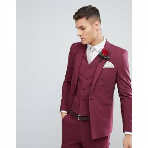 メンズファッション コート ジャケット 【 ASOS WEDDING SKINNY SUIT JACKET WITH SQUARE HEM IN WINE 】 ※セットアップではありません