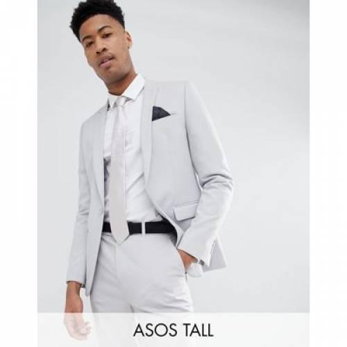 GRAY灰色 グレイ メンズファッション スーツ セットアップ 【 GREY ASOS DESIGN TALL SKINNY SUIT JACKET IN PUTTY 】 ※セットアップではありません