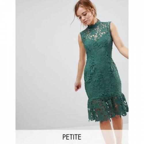 【海外限定】ハイ ドレス レディースファッション ワンピース 【 PAPER DOLLS PETITE HIGH NECK LACE DRESS WITH PEPLUM HEM 】
