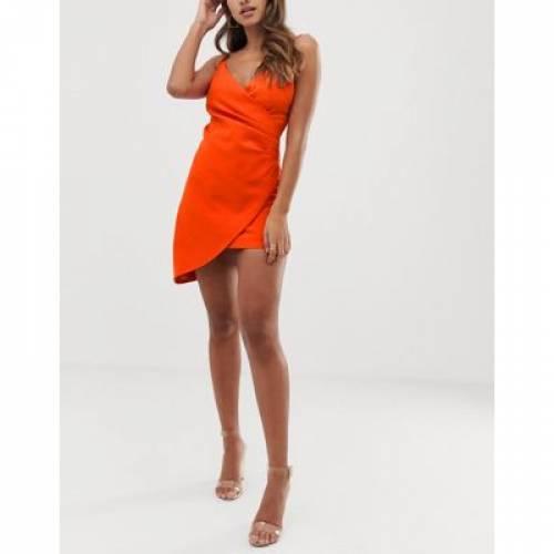 【海外限定】クラブ ストラップ ドレス 橙 オレンジ レディースファッション ワンピース 【 ORANGE CLUB L LONDON MINI ASYMMETRIC CAMI STRAP DRESS IN 】