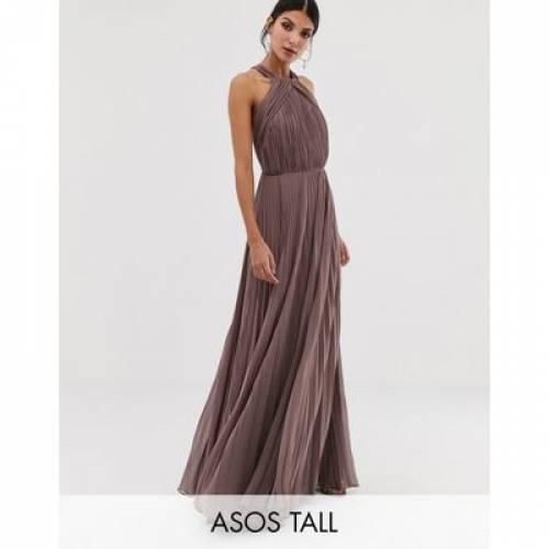 ドレス レディースファッション ワンピース 【 ASOS DESIGN TALL PLEATED BODICE HALTER MAXI DRESS 】