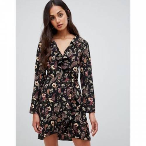 ラップ ドレス レディースファッション ワンピース 【 WRAP PARISIAN FLORAL DRESS WITH FRILL 】
