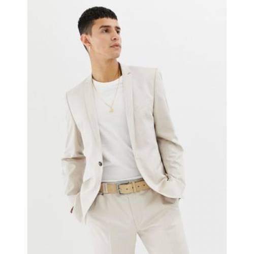 メンズファッション コート ジャケット 【 NOAK SKINNY FIT SUIT JACKET IN STONE 】 ※セットアップではありません