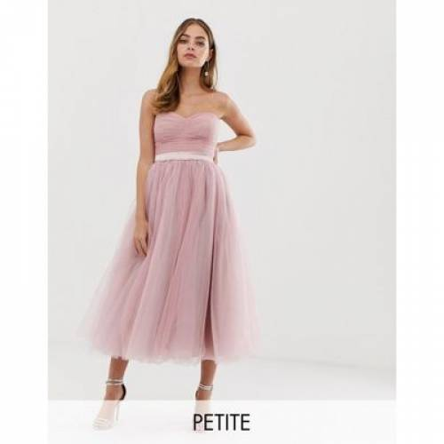 ドレス ピンク & レディースファッション ワンピース 【 PINK DOLLY DELICIOUS PETITE BANDEAU FULL PROM MIDAXI DRESS IN 】
