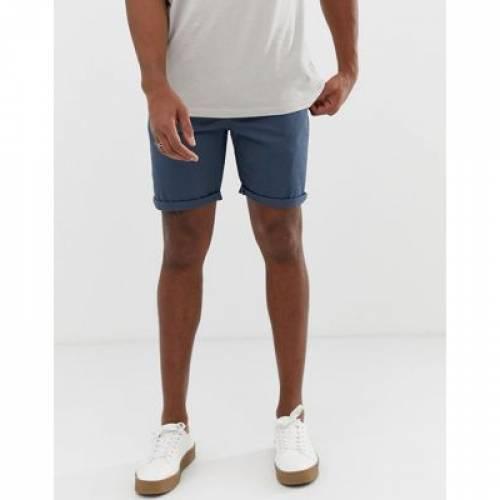 スリム チノ ショーツ ハーフパンツ 青 ブルー メンズファッション ズボン パンツ 【 SLIM BLUE ASOS DESIGN CHINO SHORTS IN DARK 】