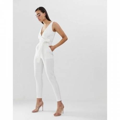 白 ホワイト レディースファッション オールインワン サロペット 【 WHITE OUTRAGEOUS FORTUNE TIE WAIST JUMPSUIT IN 】