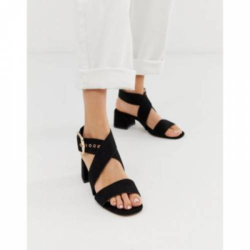 黒 ブラック 【 BLACK ASOS DESIGN HIP HOP BLOCK HEELED SANDALS IN 】