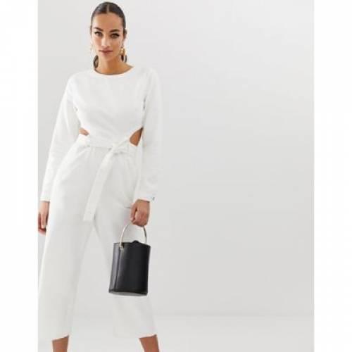デニム 白 ホワイト レディースファッション オールインワン サロペット 【 WHITE MISSGUIDED DENIM JUMPSUIT WITH CUT OUT DETAIL IN 】
