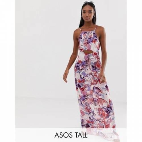 ドレス レディースファッション ワンピース 【 ASOS DESIGN TALL BEACH MAXI DRESS IN ORNATE PAISLEY PRINT WITH LATTICE WAIST DETAIL 】