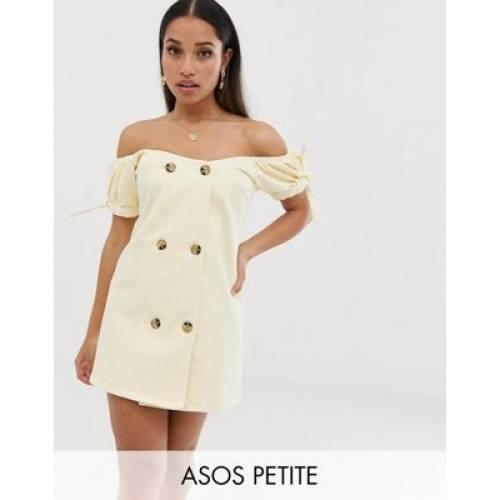 デニム ドレス レディースファッション ワンピース 【 ASOS DESIGN PETITE DENIM BARDOT DOUBLE BREASTED MINI DRESS 】