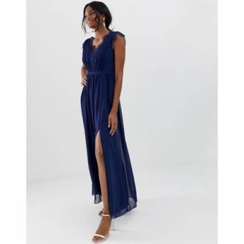 ドレス レディースファッション ワンピース 【 LITTLE MISTRESS MAXI DRESS WITH LACE DETAIL AND SIDE SPLIT 】