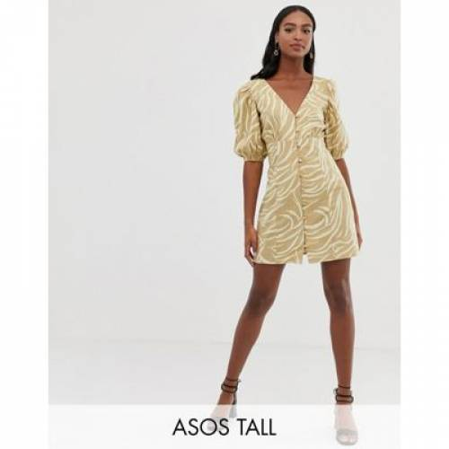 ドレス ナチュラル レディースファッション ワンピース 【 ASOS DESIGN TALL BUTTON THROUGH V FRONT BACK MINI DRESS IN NATURAL ZEBRA 】