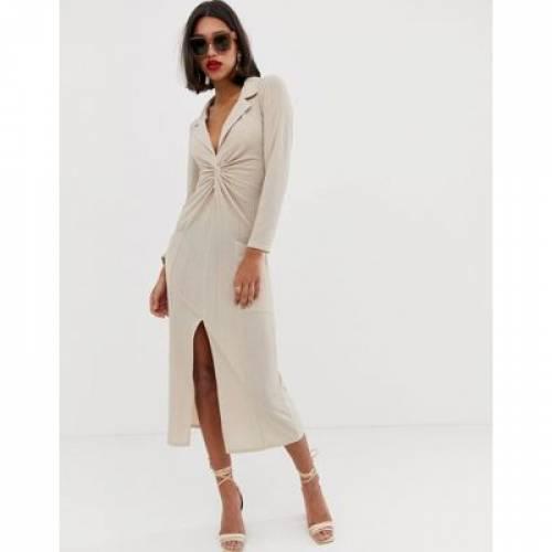 ドレス レディースファッション ワンピース 【 ASOS DESIGN TEXTURED TWIST FRONT MAXI DRESS 】
