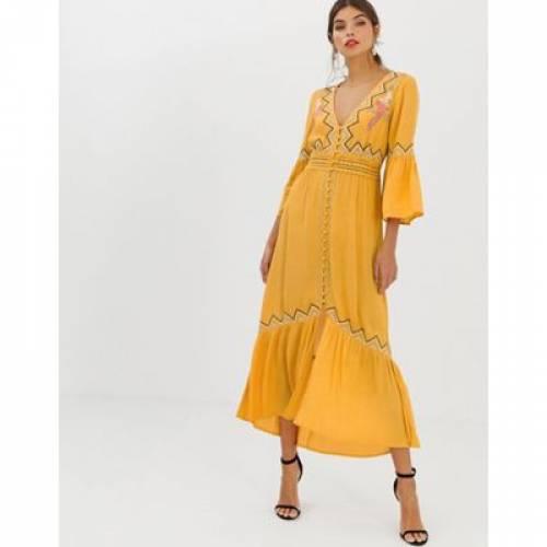 ドレス レディースファッション ワンピース 【 ASOS DESIGN LACE INSERT MAXI DRESS WITH EMBROIDERY 】