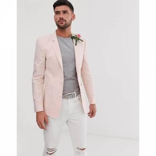 ブレーザー ブレイザー ピンク メンズファッション コート ジャケット 【 PINK ASOS DESIGN WEDDING SKINNY BLAZER IN LINEN 】