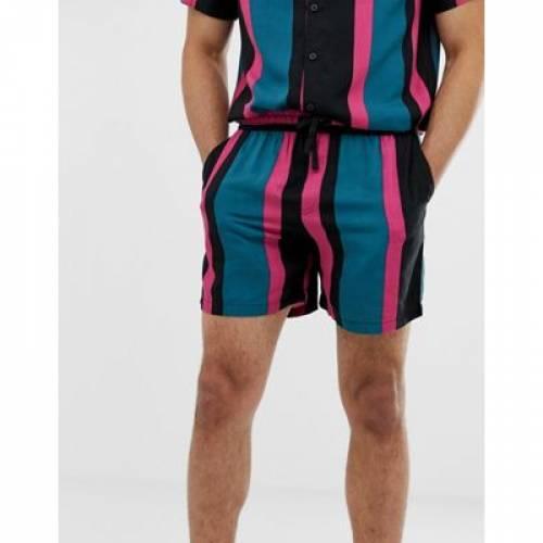 ショーツ ハーフパンツ 緑 グリーン ストライプ メンズファッション ズボン パンツ 【 GREEN STRIPE NEW LOOK COORD SHORTS IN 】
