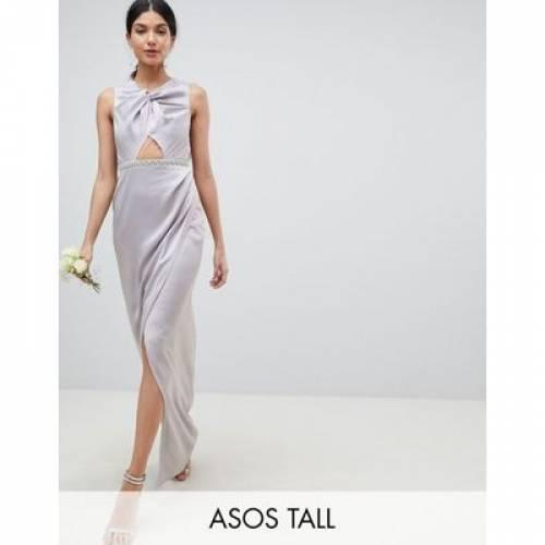パール ドレス レディースファッション ワンピース 【 ASOS DESIGN TALL PEARL TRIM TWIST FRONT MAXI DRESS 】