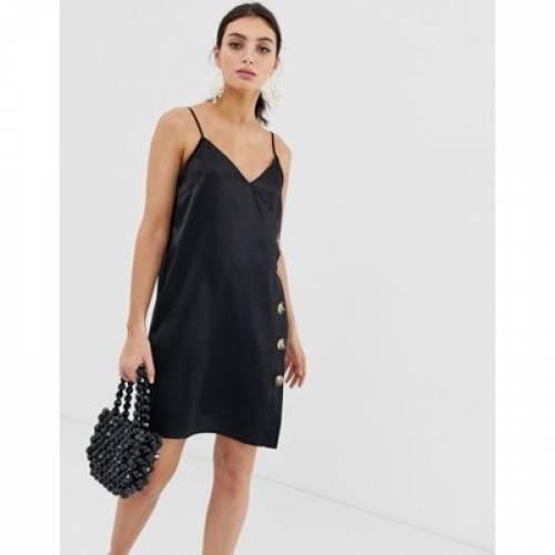 ドレス 黒 ブラック レディースファッション ワンピース 【 BLACK RIVER ISLAND CAMI DRESS WITH BUTTONS IN 】