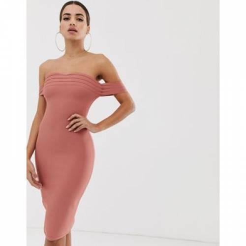 ドレス レディースファッション ワンピース 【 THE GIRLCODE BARDOT BANDAGE DRESS IN RUST 】