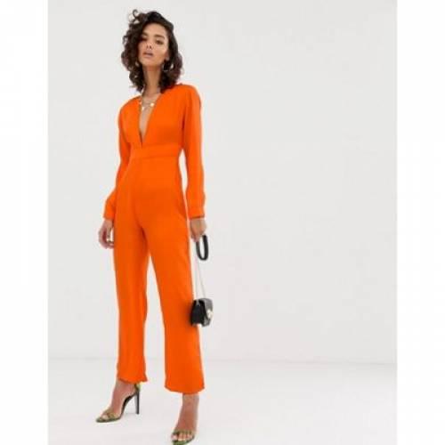 橙 オレンジ レディースファッション オールインワン サロペット 【 ORANGE NAKD PLUNGING PRINT V JUMPSUIT IN 】