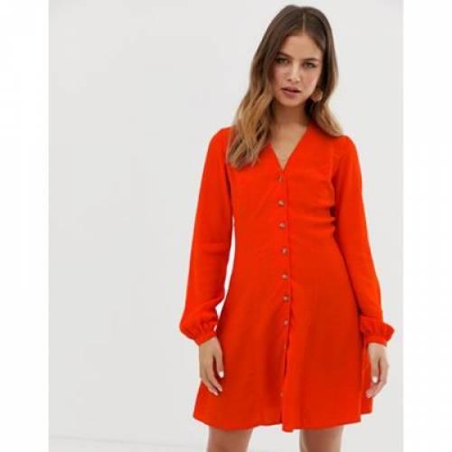 ドレス 赤 レッド レディースファッション ワンピース 【 RED NEW LOOK BUTTON THROUGH TEA DRESS IN 】