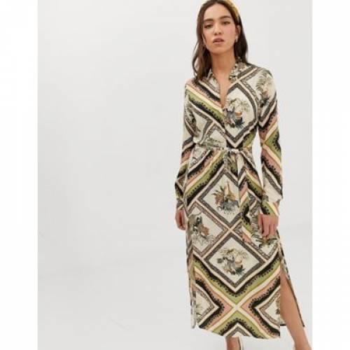 ドレス レディースファッション ワンピース 【 STRADIVARIUS SHIRT DRESS IN CHAIN PRINT 】
