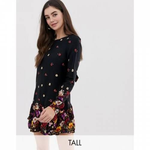 ドレス レディースファッション ワンピース 【 NEW LOOK TALL FLORAL BORDER PRINT DRESS 】