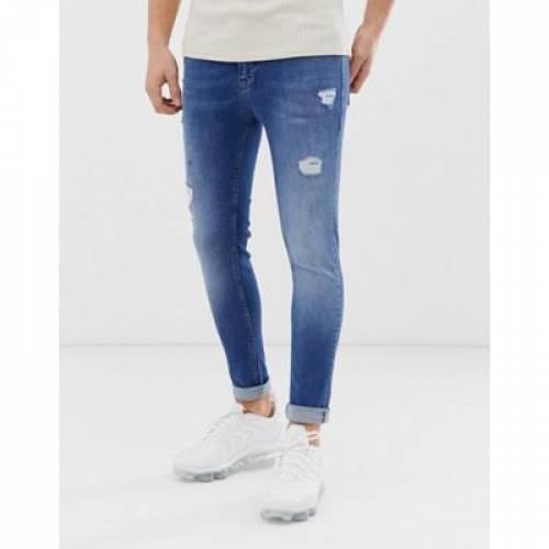 パワー ミッド 青 ブルー メンズファッション ズボン パンツ 【 POWER BLUE ASOS DESIGN SPRAY ON JEANS WITH STRETCH IN MID WASH ABRASIONS 】