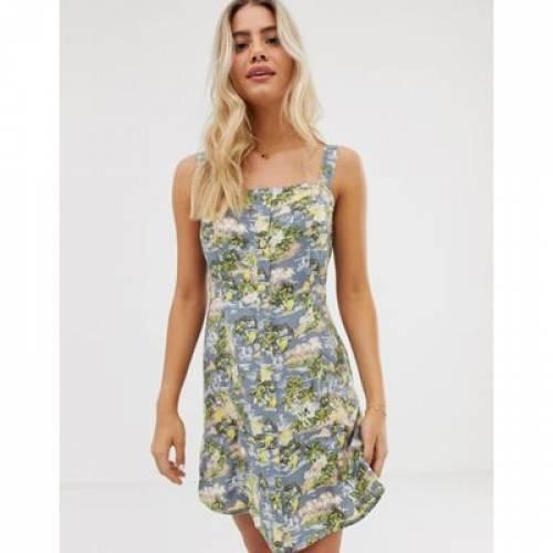 ドレス WEDNESDAY'S レディースファッション ワンピース 【 GIRL CAMI PINAFORE DRESS IN TROPICAL PRINT 】