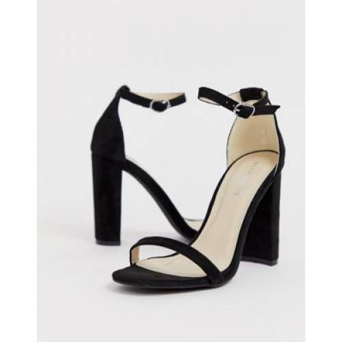 黒 ブラック 【 BLACK GLAMOROUS BARELY THERE SQUARE TOE BLOCK HEELED SANDALS 】