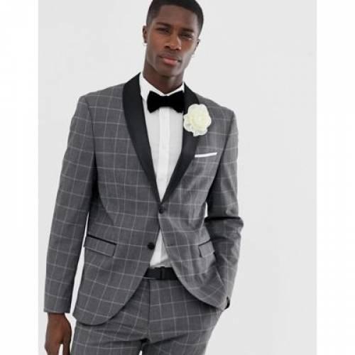 スリム サテン GRAY灰色 グレイ メンズファッション コート ジャケット 【 SLIM GREY SELECTED HOMME SUIT JACKET WITH SATIN ROLL LAPEL IN GRID CHECK 】 ※セットアップではありません