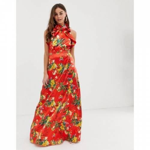 ドレス 赤 レッド サテン レディースファッション ワンピース 【 RED PRETTYLITTLETHING MAXI DRESS WITH FRILL DETAIL IN FLORAL SATIN 】