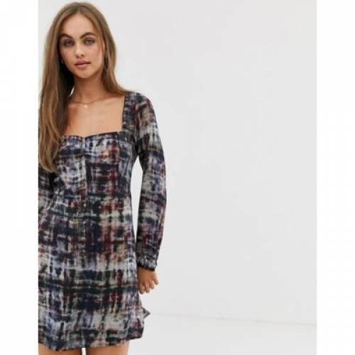 ドレス PULL&BEAR レディースファッション ワンピース 【 DRESS WITH SQUARE NECK IN TIE DYE 】