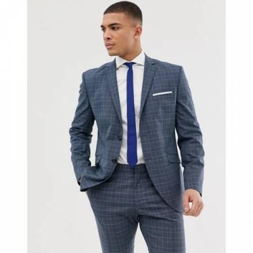 スリム 青 ブルー メンズファッション コート ジャケット 【 SLIM BLUE SELECTED HOMME SUIT JACKET IN CHECK 】 ※セットアップではありません