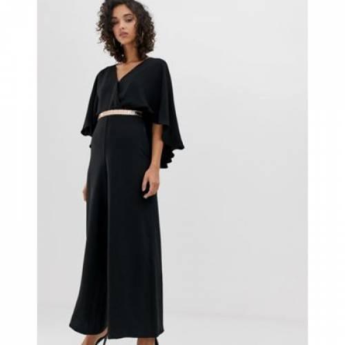 黒 ブラック レディースファッション オールインワン サロペット 【 BLACK RIVER ISLAND JUMPSUIT WITH CAPE IN 】