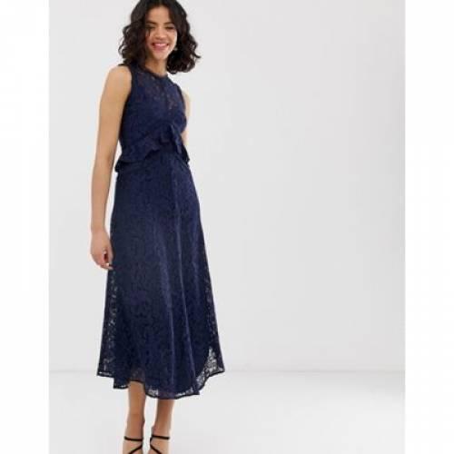 ドレス 紺 ネイビー レディースファッション ワンピース 【 NAVY WAREHOUSE FRILL LACE MIDI DRESS IN 】