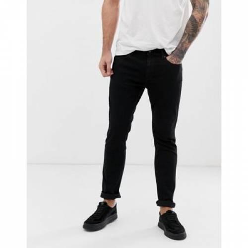 黒 ブラック メンズファッション ズボン パンツ 【 BLACK HUGO 734 SKINNY JEANS IN 】
