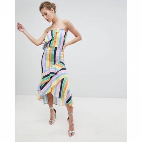 紫 バイオレット ドレス レディースファッション ワンピース 【 TRUE VIOLET BANDEAU MIDI DRESS WITH FRILL HEM 】